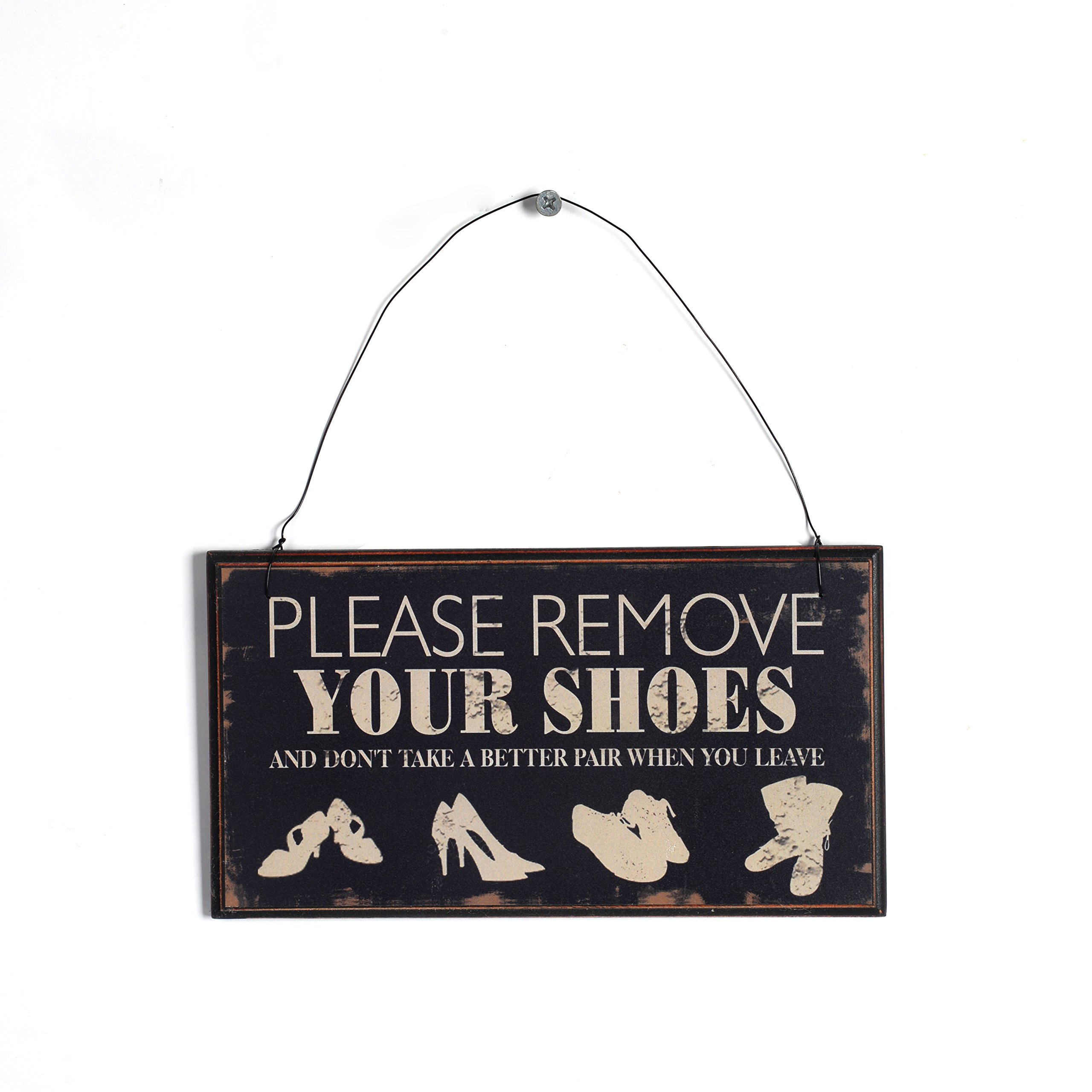NIKKY HOME Please Remove Your Shoes Wooden Wall Decorative Sign 8.37 x 0.37 x 4.5 Inches Black by NIKKY HOME