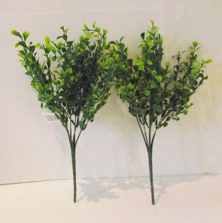 Set of 2 Artificial Tea Leaf Bushes - 35 cm Floristry Supplies