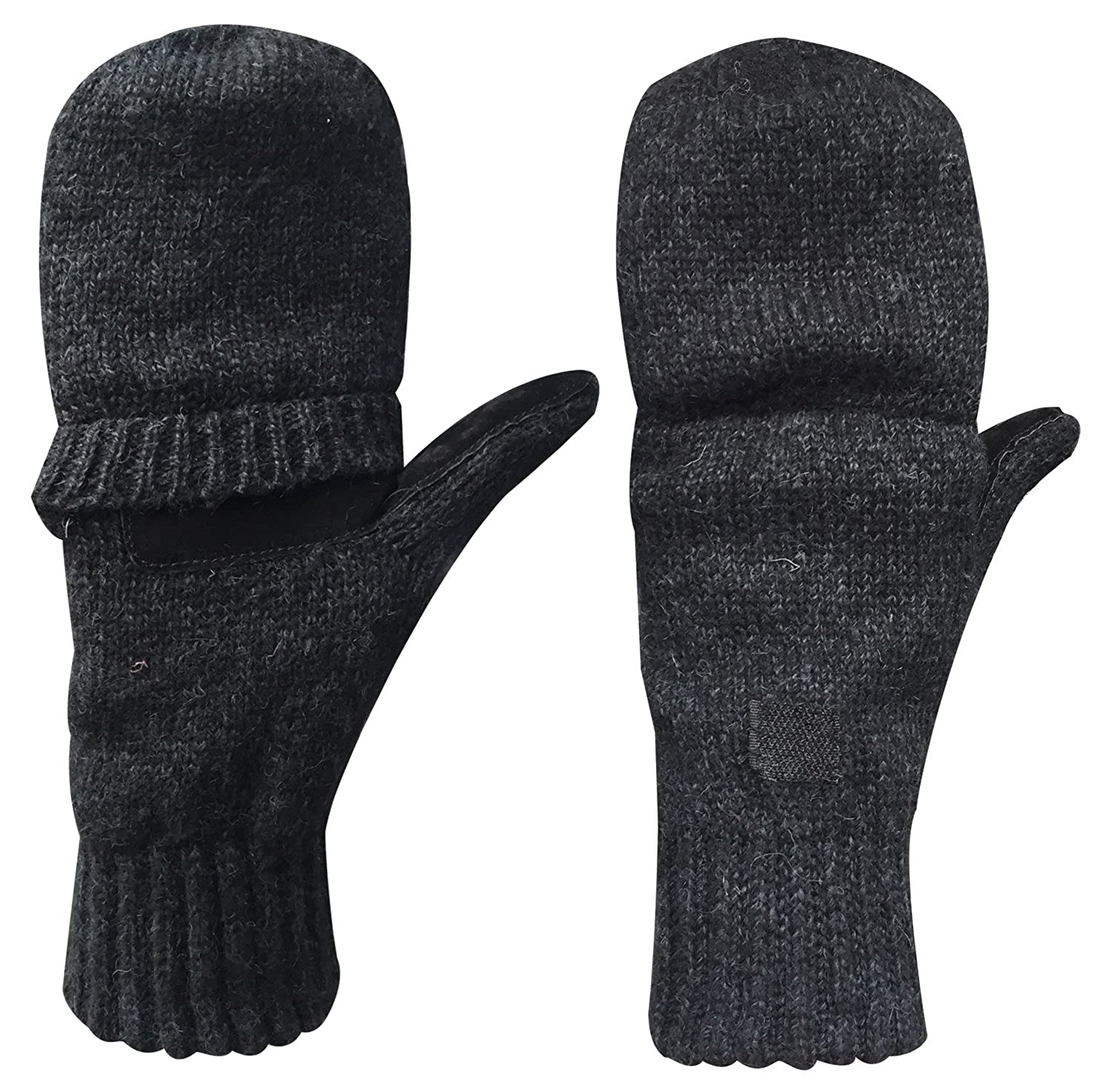 Fingerless gloves cotton - Korlon Warm Winter Wool Knitted Convertible Gloves Mittens With Mitten Cover Black At Amazon Men S Clothing Store