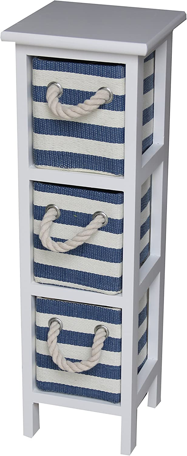 Shabby Chic Modern Wooden Nautical Blue White Cabinet Storage Cupboard with Rope Handle Drawer Bedroom Bathroom Kitchen Furniture 3 Draws