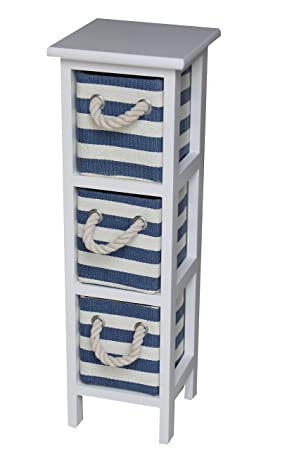 Shabby Chic Modern Wooden Nautical Blue White Cabinet Storage