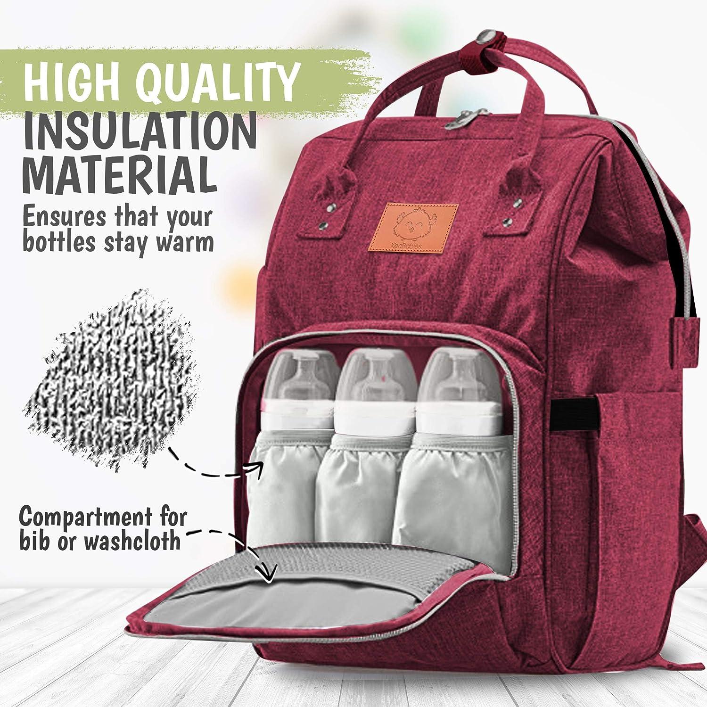 Large Waterproof Travel Baby Bags Wine Red Diaper Bag Backpack