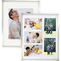 decanit 11x14 Set of 2 Silver Metal Picture Frame, Each Frame with 2 Mats,Display 8x10 or Five 4x6 Photos with Mat…
