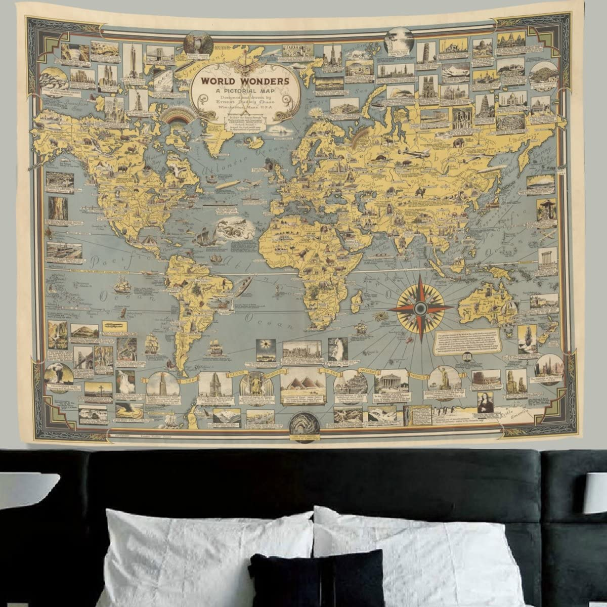 HMWR World Map Tapestry Wall Hanging Vintage Ancient Buildings Culture Art World Map Compass Wall Fabric Tapestry Throw Artwork Home Decoration