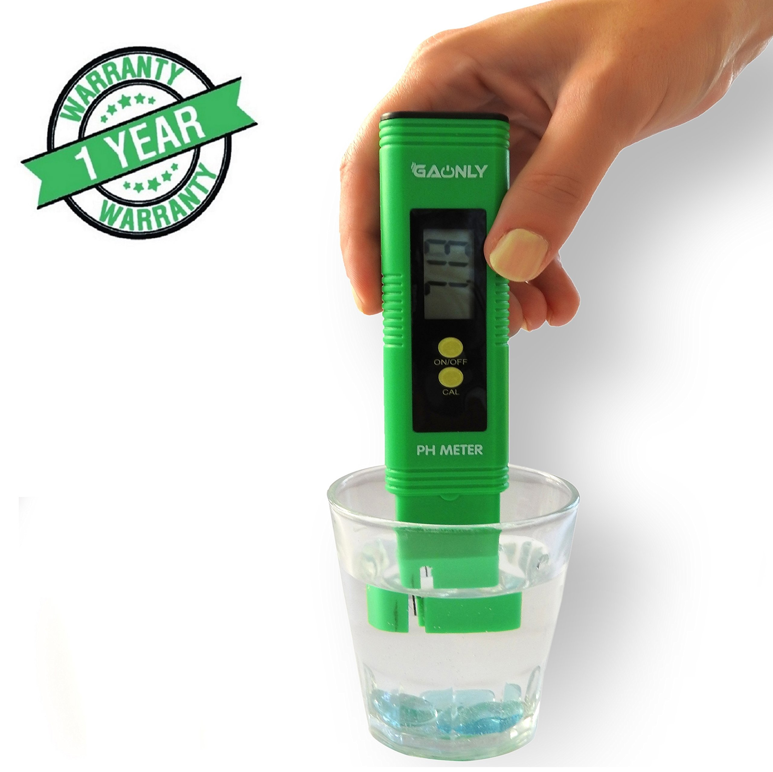 Digital PH Meter,PH Tester -Water, Pool,Fish Tank, Hydroponics, Education.3 x pH Buffer Powders, Automatic Calibration,Range 0.00-14.00 pH,ATC,Auto-shut off.Greeting card .Green.