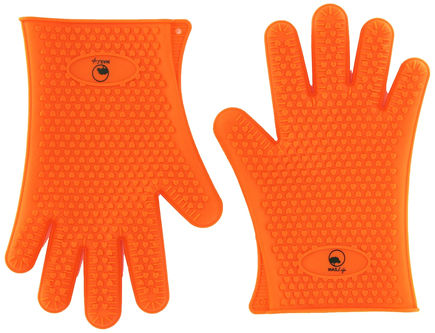 MASlife Silicone BBQ Oven Cooking Gloves- Heat Resistant - BBQ Grill- Waterproof, Camping, Indoor-Outdoor Grilling, High Temperature Work Gloves- Unisex - One Size Fit All- Orange(1 Pair)