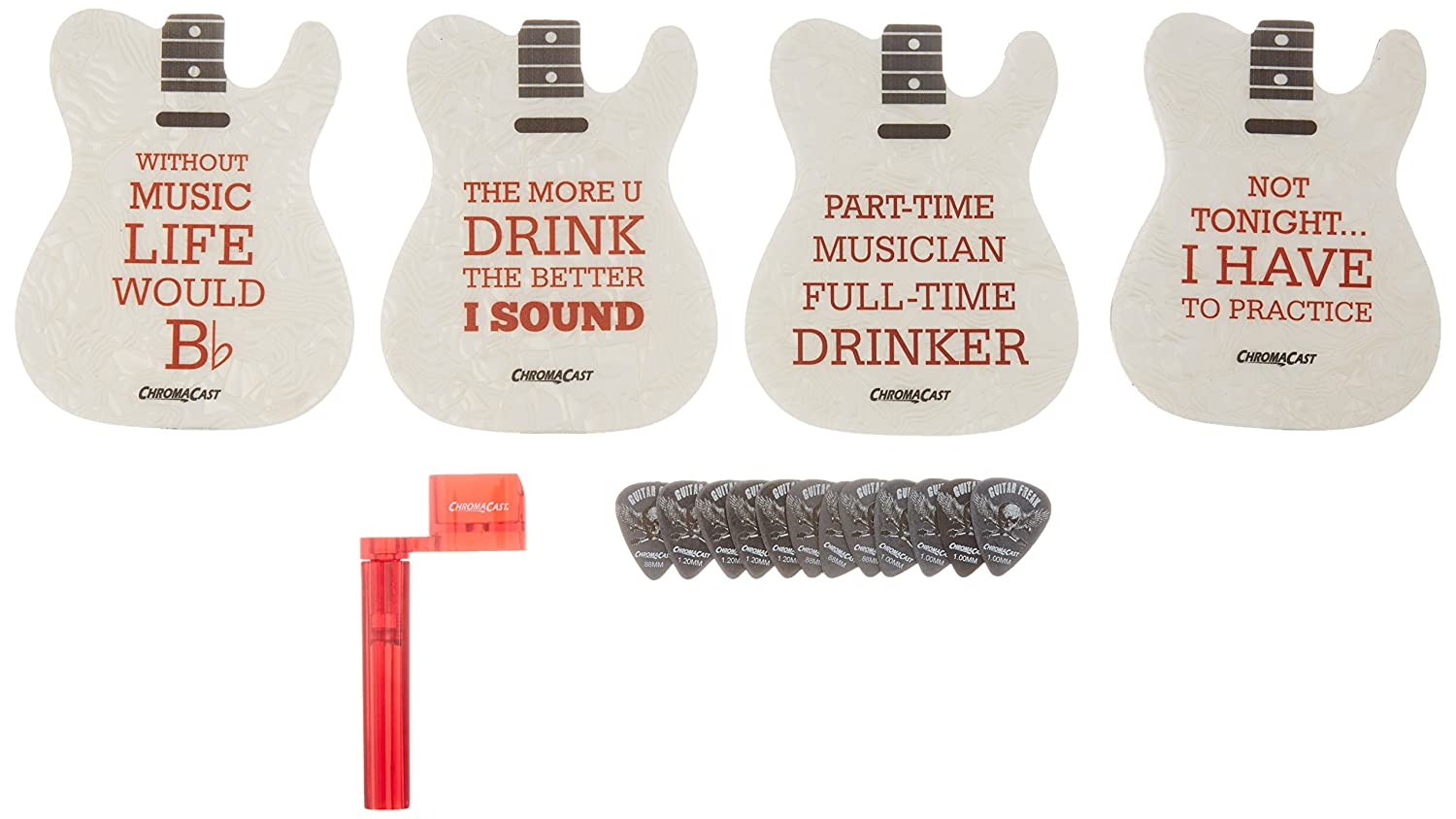 ChromaCast CC-TELECOAST-KIT Tele Guitar Shaped Coasters, String Winder and Pick Sampler Bundle