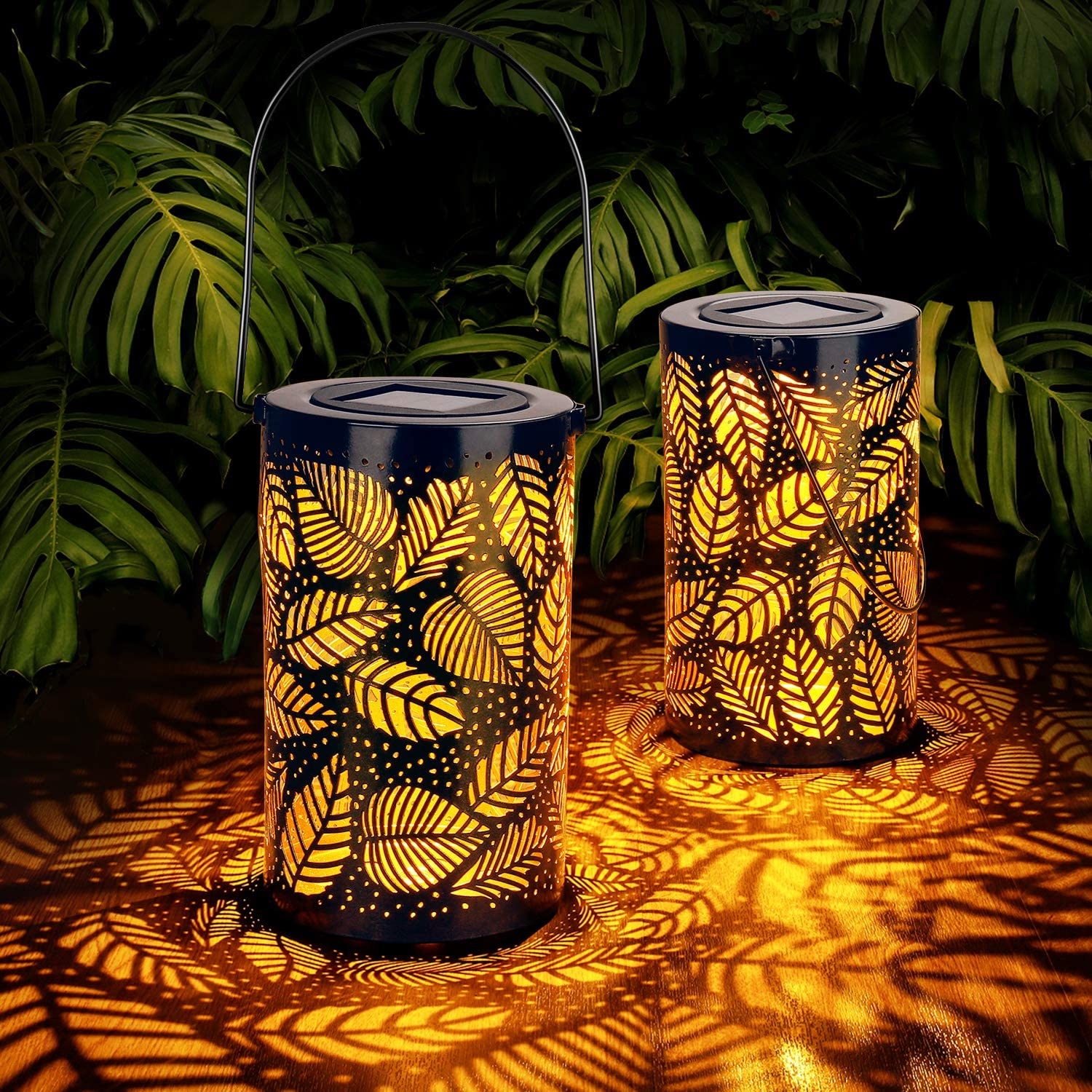 2-Pack Solar Hanging Lantern Outdoor, Metal Hollow LED Solar Lights, Warm White, Decorative Solar Powered Lamps with Stakes for Garden, Patio, Lawn, Yard, Deck, Tree, Party