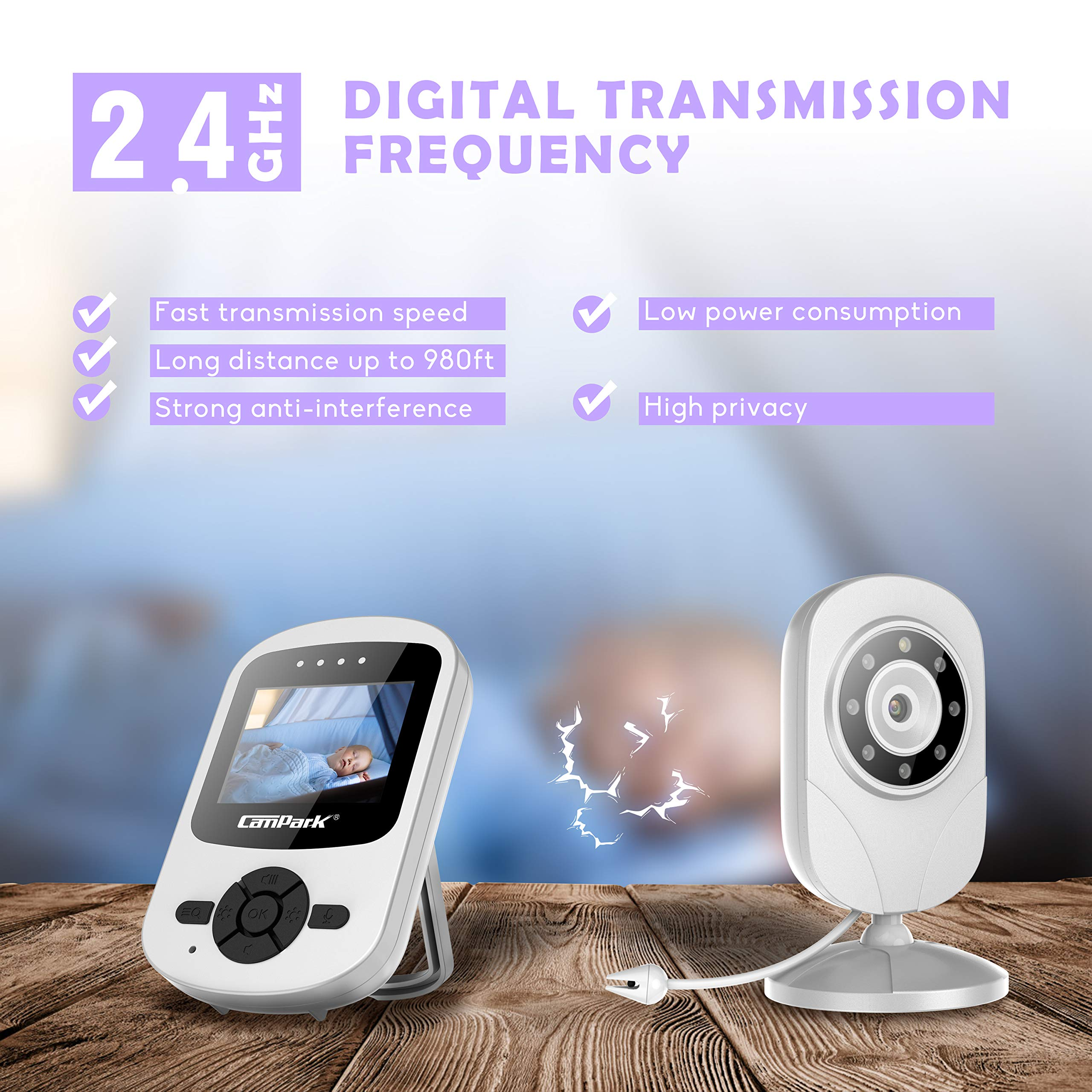 【2019 New Version】Campark Video Baby Monitor with Camera Infant Digital Cam Optics with Infrared Night Vision 2.4'' LCD 2.4GHz Wireless Transmission Two Way Talk Temperature Sensor VOX 4 in 1 Connect by Campark (Image #9)