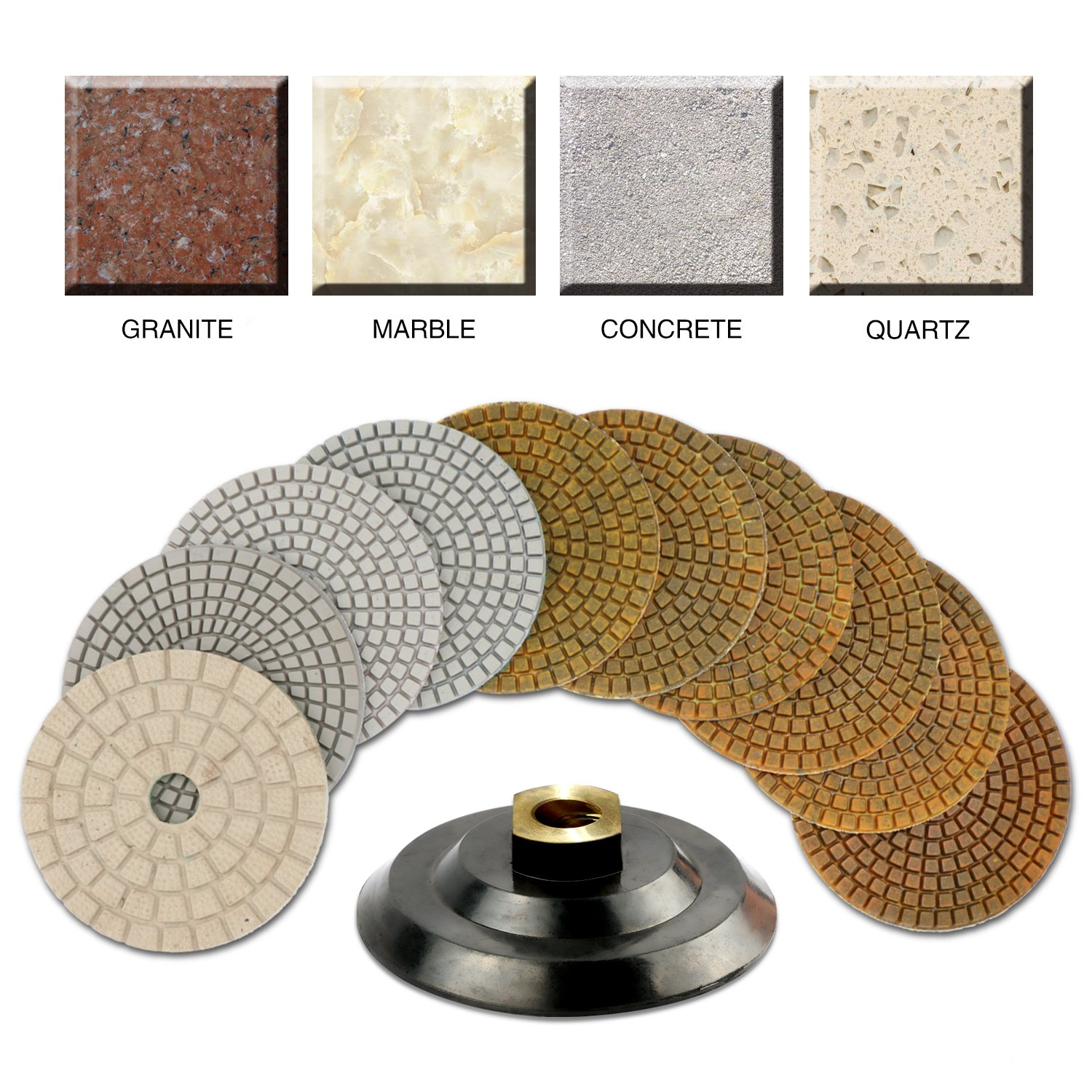 CHANGE MOORE Wet Diamond Polishing Pads Set 4 Inch for Marble Travertine Concrete Quartz Countertop Floor Stone 10 PCS and 1 Velcro Rubber backing pad (5/8'' arbor) by CHANGE MOORE (Image #5)