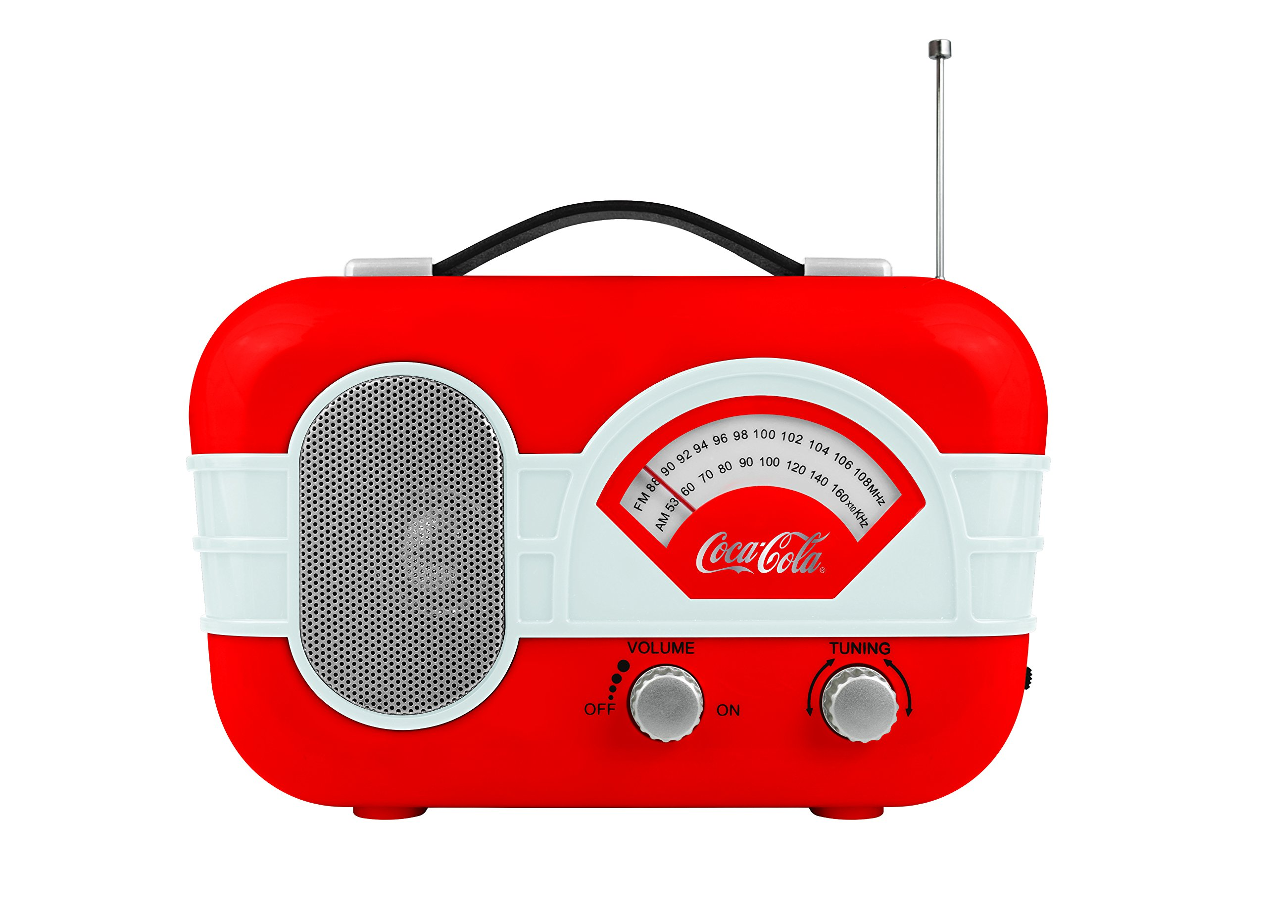 Coca-Cola Retro Desktop Vintage Style AM/FM Battery Operated Radio Auxillary Input Red/White