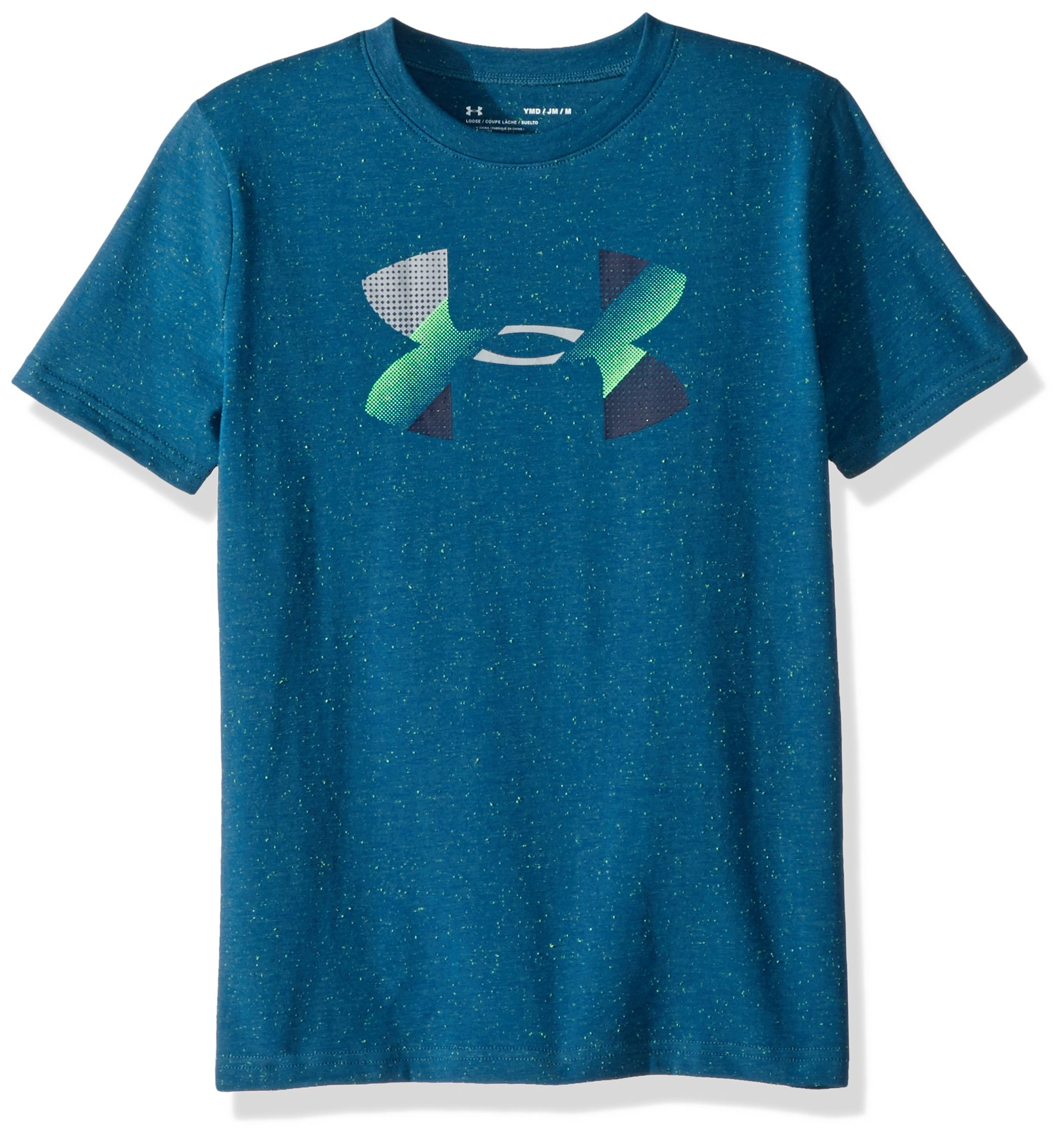Under Armour Boys' Big Logo T-Shirt, Moroccan Blue (487)/Arena Green, Youth Large