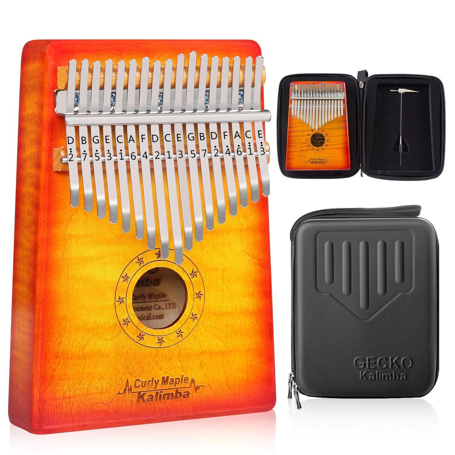 GECKO 17 Key Kalimba Thumb Piano Finger Piano Solid Curly Maple Body with Case C tune