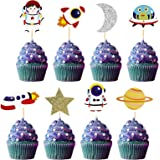 Space Cupcake Toppers 32pcs Outer Space Cupcake Toppers Includes Rocket Cupcake Toppers, Planet Cupcake Topper, Astronaut Cup