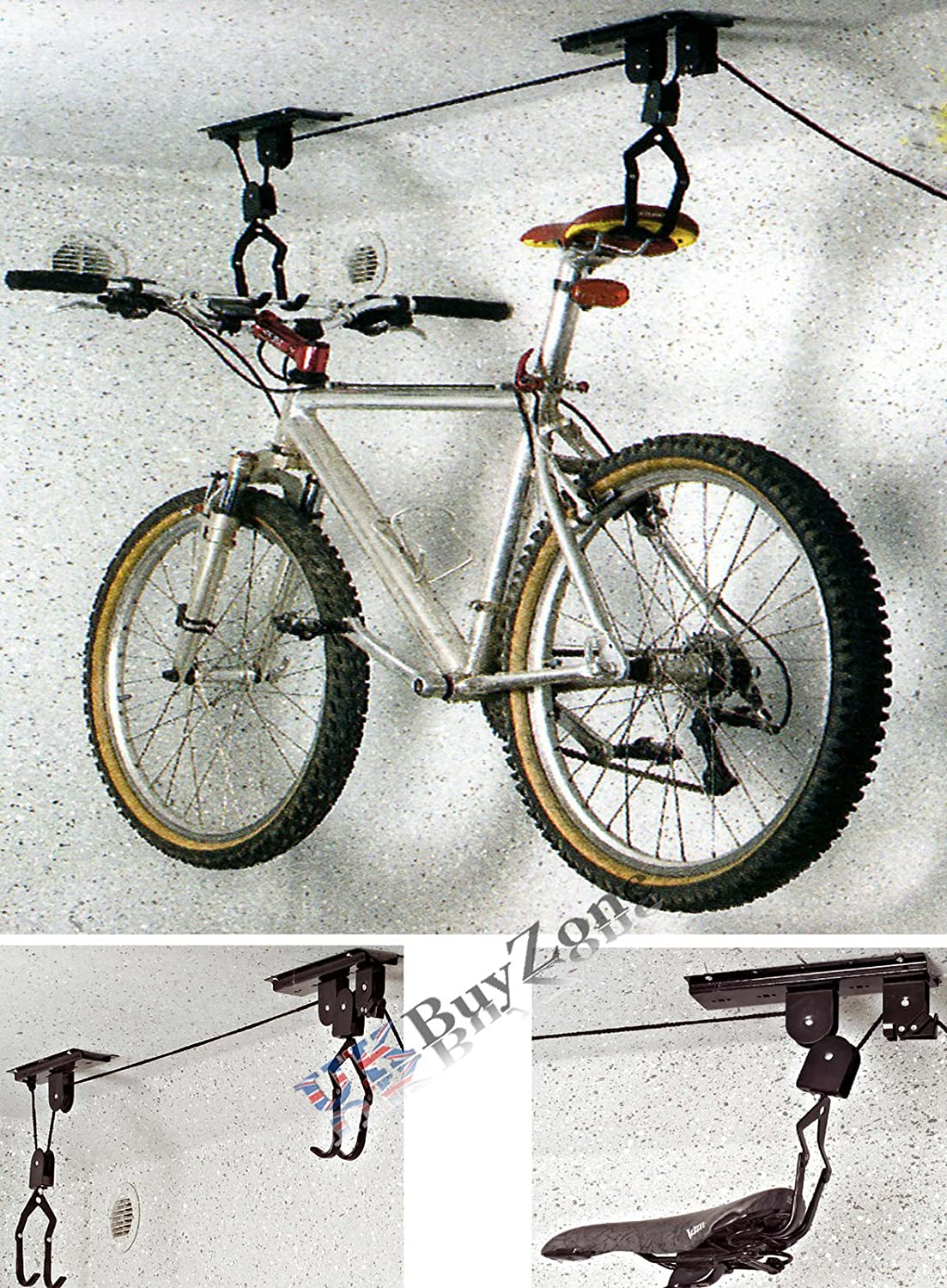 Bicycle Lift Bike Support plafond POULIE PALAN Rack Garage Stockage Crochets Hanger