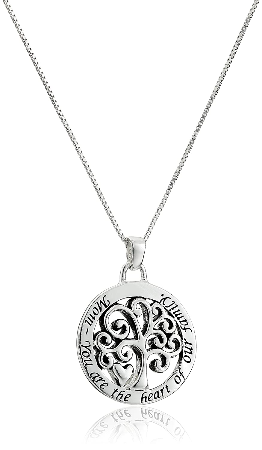 Sterling silver mom you are the heart of our family reversible family tree pendant necklace 18 amazon sterling silver mom you are the heart of our family reversible family tree pendant necklace 18 necklaces for mom jewelry aloadofball Images