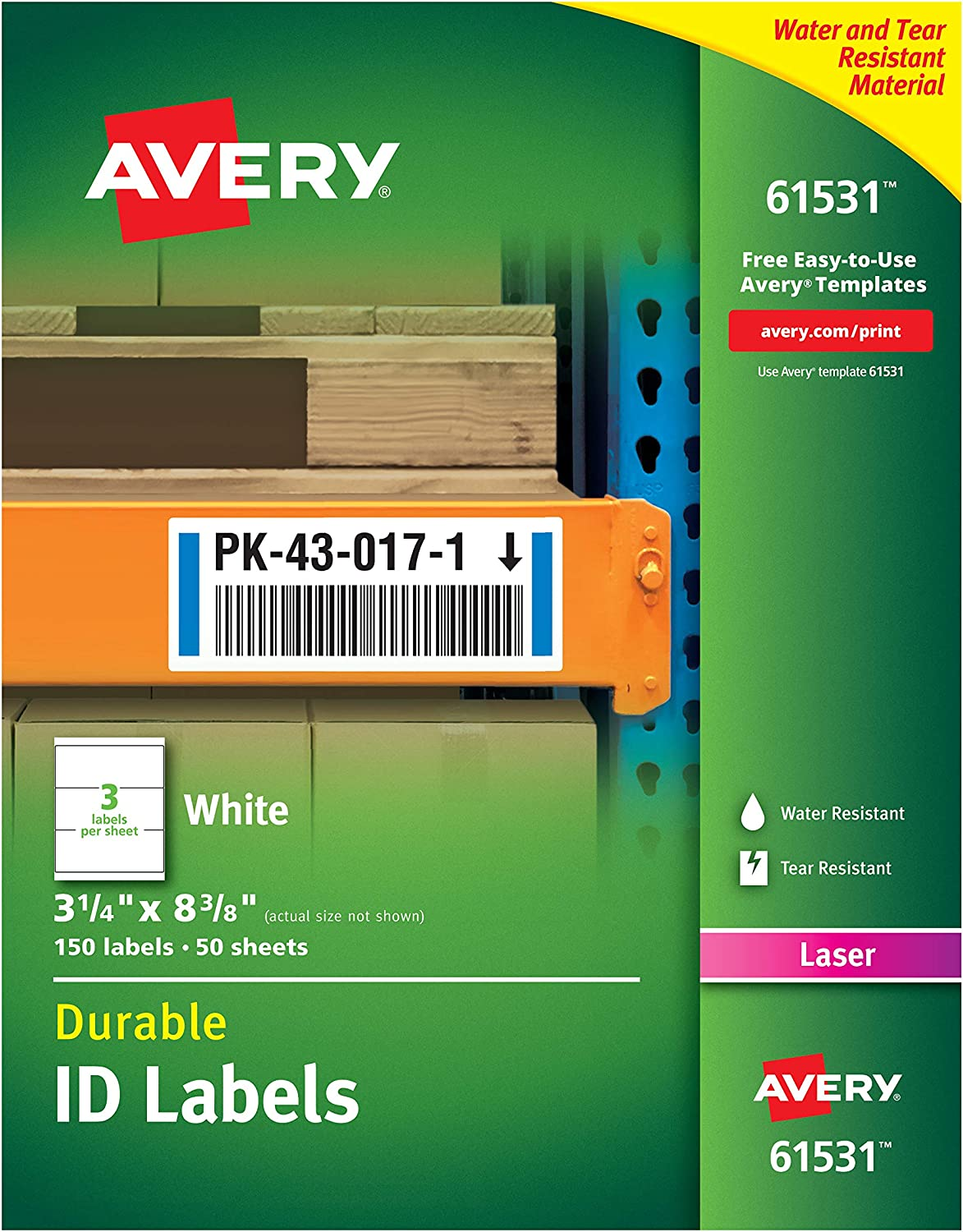 Avery Durable White Cover Up ID Labels for Laser Printers, 3.25