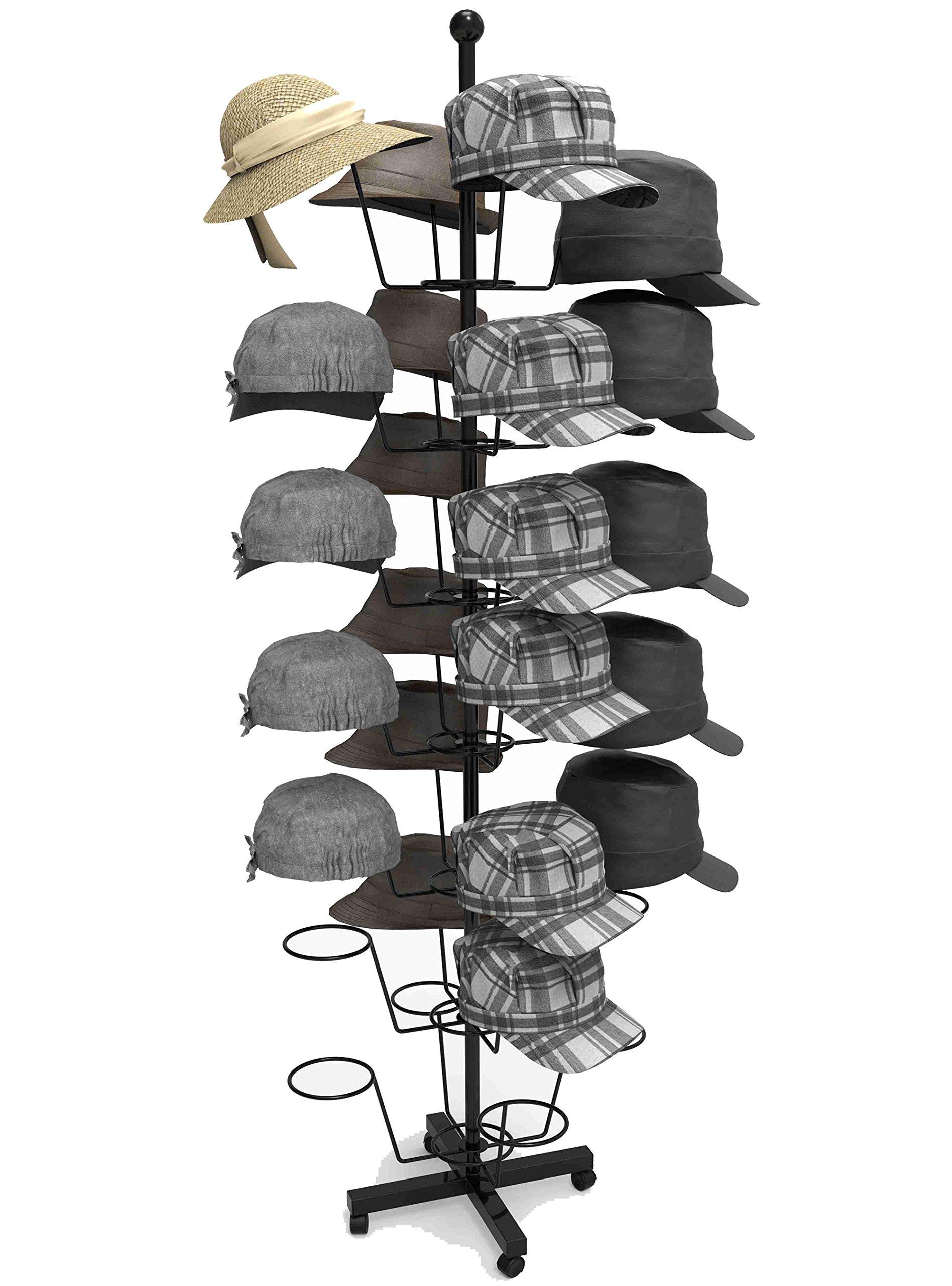 Keland 7-Tier Metal Rotating Adjustable Cap Display Rack 35 Hold Retail Hat Stand Holder Hanger Organizer, US Stock