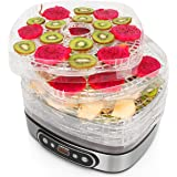 Cusimax BPA-Free Electric Food Dehydrator - 5 Trays Food Preserver with Adjustable Temperature and Timer - Led Display Fruit - Vegetable Dryer - CMFD-450D - 450W - Black