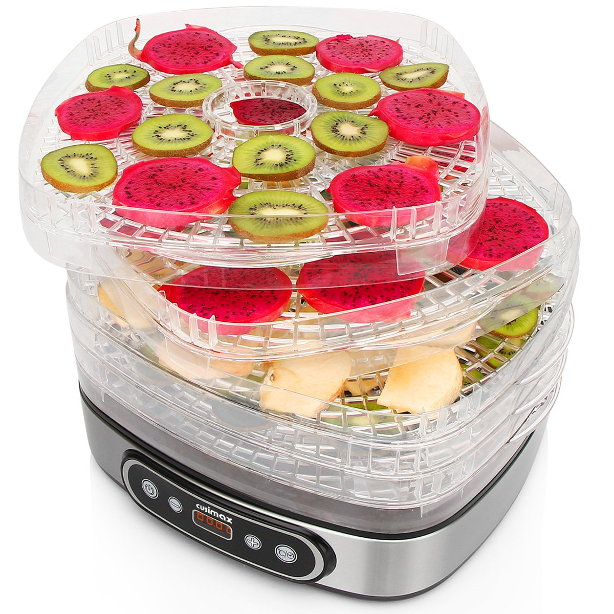 Cusimax Electric Food Dehydrator BPA-Free 5 Trays Food Preserver with Adjustable Temperature and Timer Led Display Fruit Vegetable Dryer Dehydrator 450W for baby Pet snacks