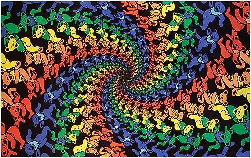 Sunshine Joy Grateful Dead 3D Dancing Bears Spiral Tapestry Tablecloth Wall Art Beach Sheet Huge 60×90 Inches – Amazing 3D Effects