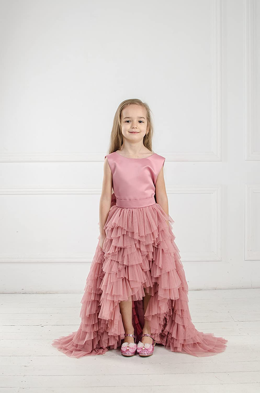 f715a4436eda Amazon.com: Flower girl dusty rose tutu tulle dress, pageant train dress,  princess dress, birthday dress wedding dress first communion pink dress:  Handmade