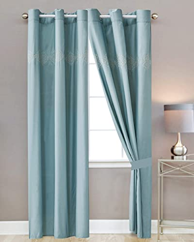 Sapphire Home Window Curtain Panel Set 2 Panels with Sheer Backing, 84 Length, Grommet, Classy Slate Light Blue Damask Pattern, Curtain 21857