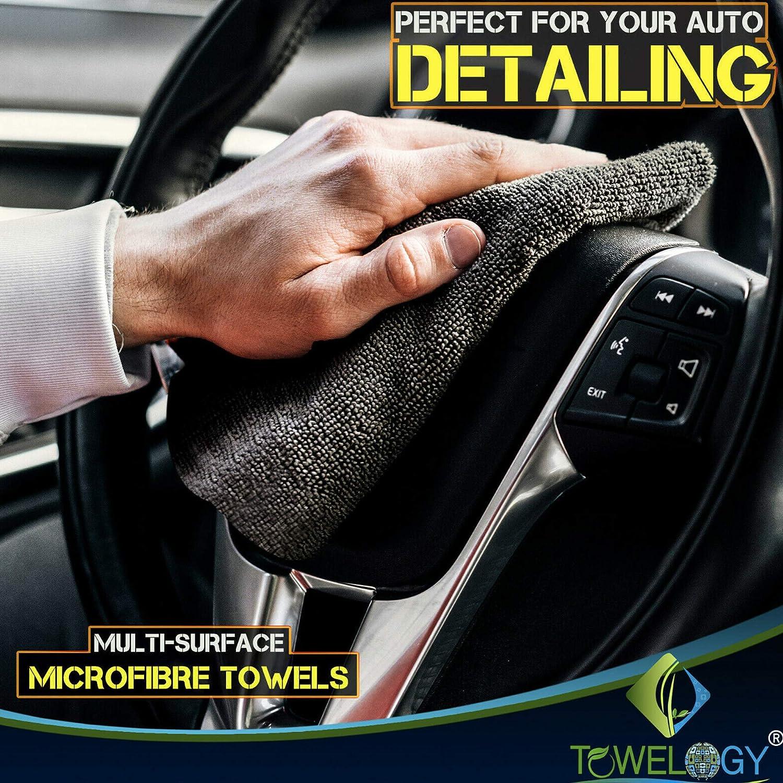 Towelogy/® 520gsm Professional Microfibre Edgeless Car Cloths QUICK DRY for Auto//Moto Detailing Polishing Washing STREAK FREE /& LINT FREE 40x40cm Grey//Orange, Pack Of 4