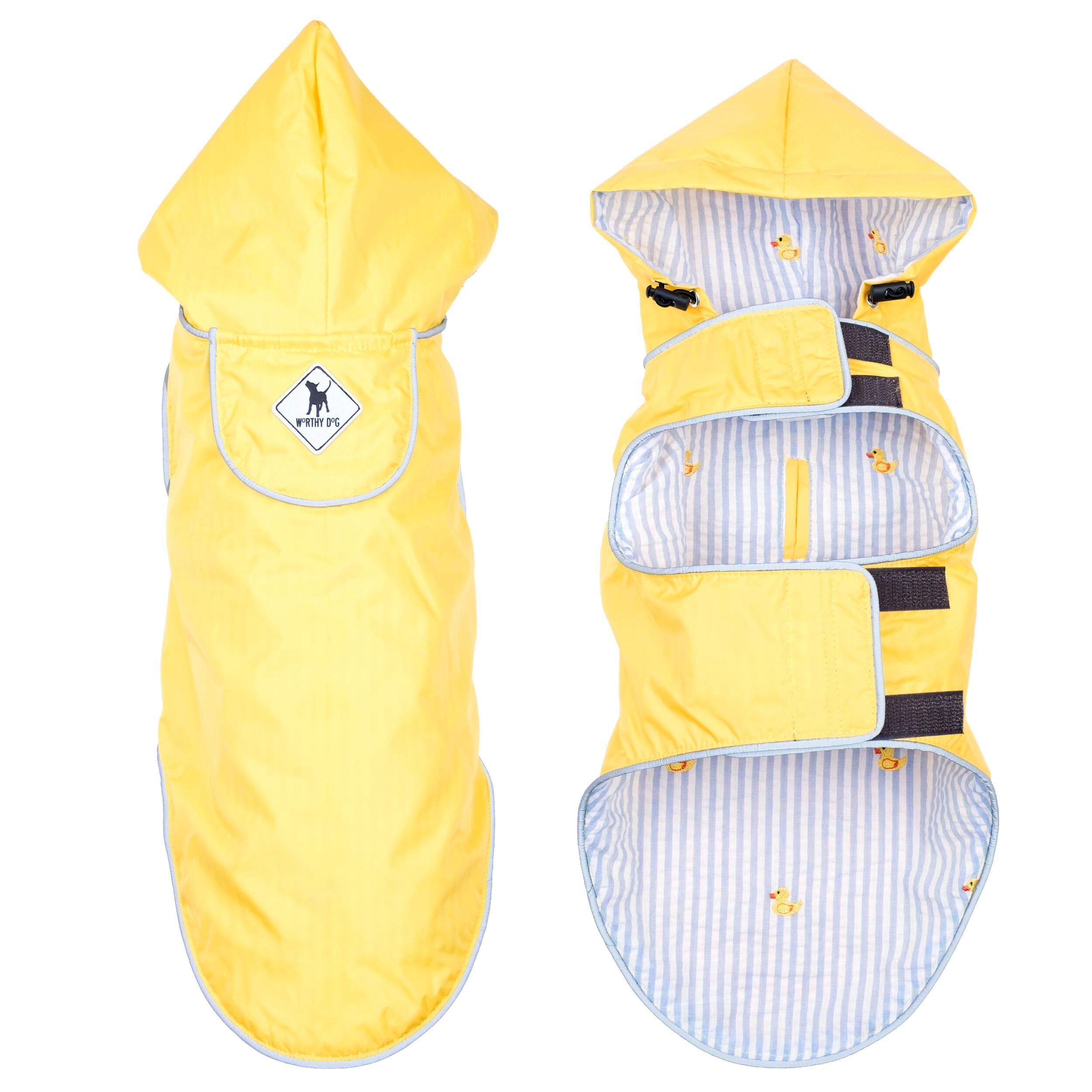 The Worthy Dog Seattle Slicker Wind and Water Resistant Hooded Rain Jacket with Reflective Trim for Small Medium Large Dogs, Yellow, SM