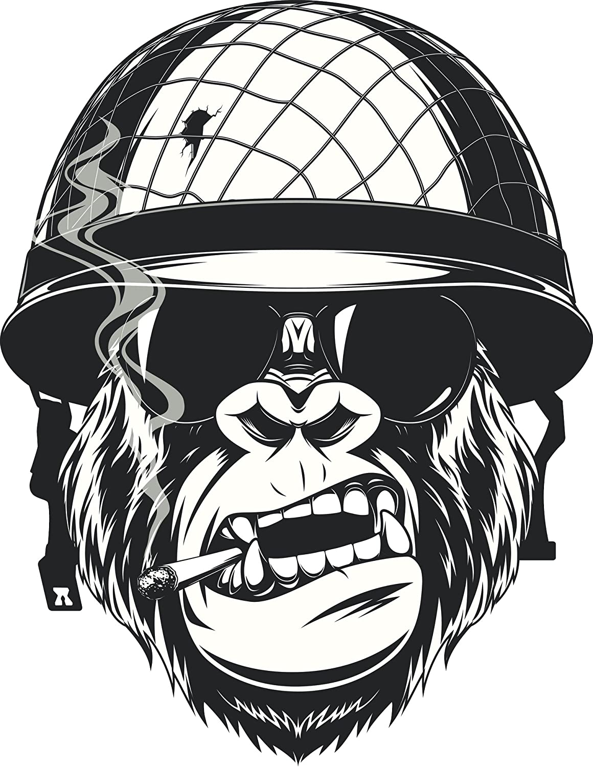 Amazon com cool black and white gorilla monkey soldier cartoon vinyl decal sticker 4 tall automotive