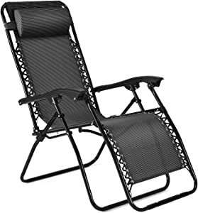Flexzion Zero Gravity Chair - Anti Gravity Outdoor Lounge Patio Folding Reclining Chair and Textilene Seat with Footrest & Adjustable Pillow for Yard, Beach, Camping, Garden, Pool, Lawn Deck (Black)