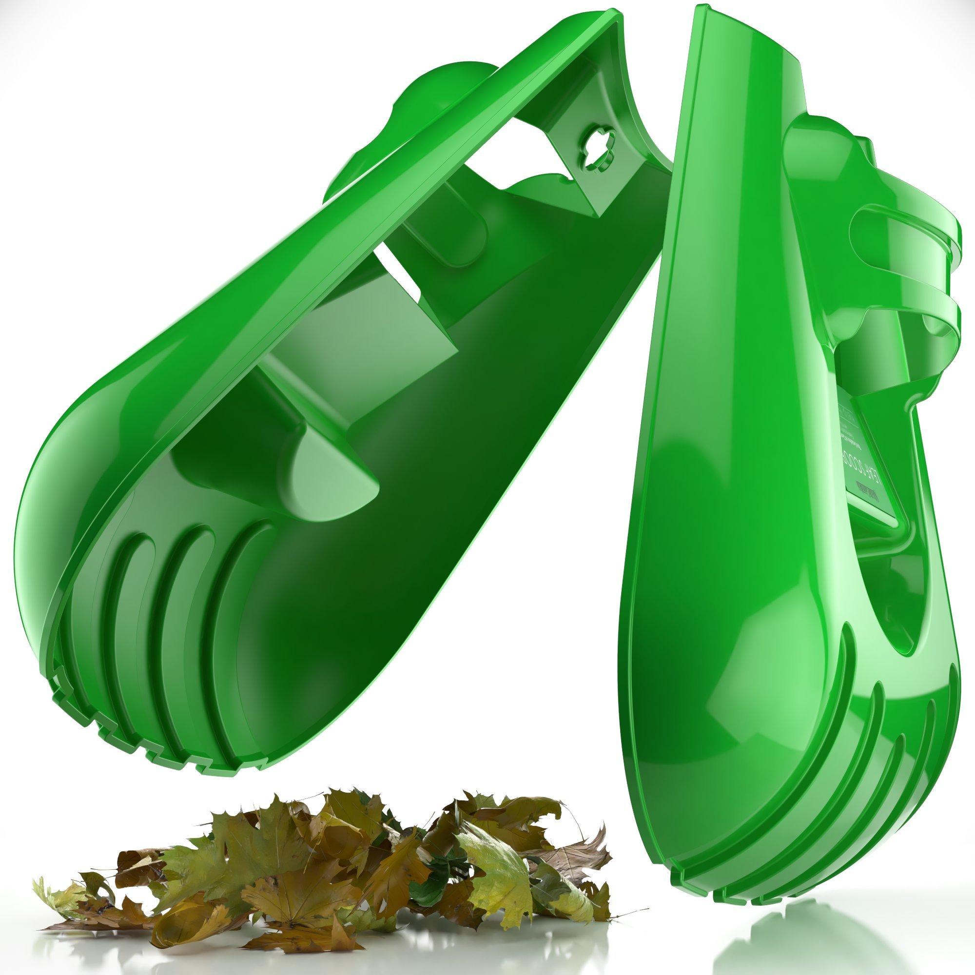 Sleek Garden Series Ergonomic Large Leaf Scoop Hand Rakes –Fast Leaf, Debris and Yard Waste Removal