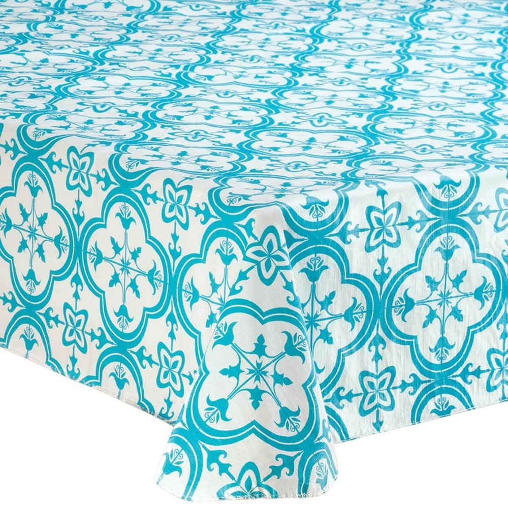 MS HOME Anti-spill Chlorine-Free Pure PEVA Vinyl Table Cover - w/100% Polyester Flannel Backing, for Indoor Outdoor use, Soft and Lightweight (60'' x 84'' Oblong)