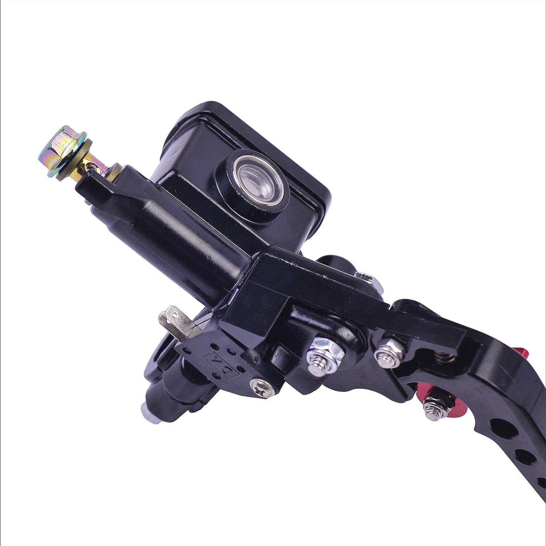 Universal Motorrad Bremsmeister Zylinder Hebel Hydraulisch Kupplung Pumpe 14 mm Kolben mit Einstellbare Bar Grau, Linke Seite