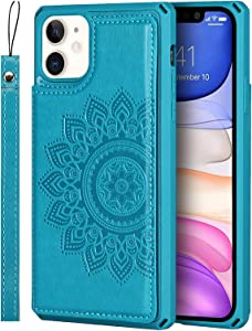 NUOUN Wallet Case for iPhone11,[RFID Blocking] Stand Cover Card Slots Holder Back Case with Premium PU Leather& Wrist StrapCompartment for iPhone11(6.1 inch)-Aqua Blue