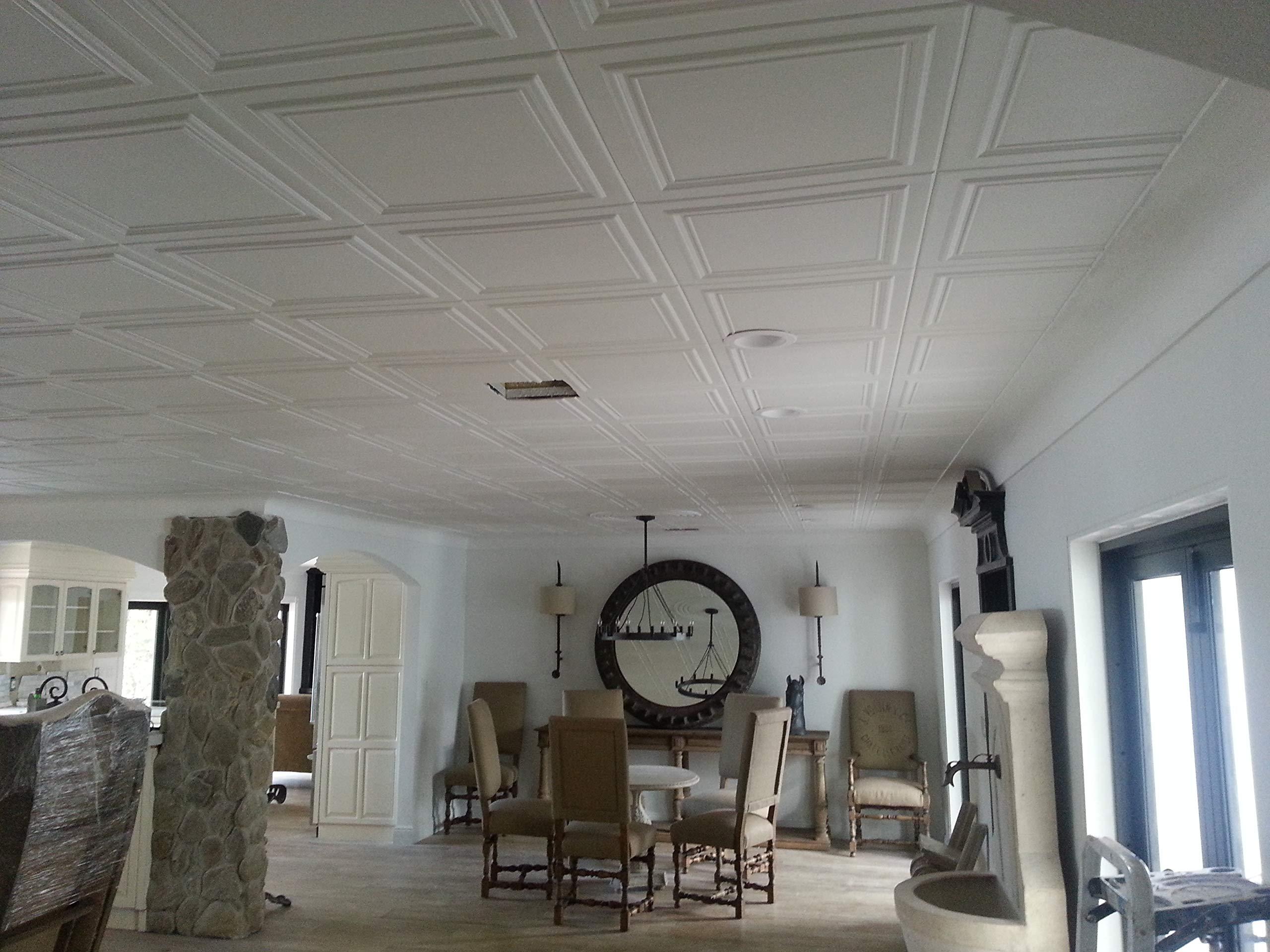 A la Maison Ceilings 1993 Line Art - Styrofoam Ceiling Tile (Package of 8 Tiles), Plain White by A La Maison Ceilings (Image #5)