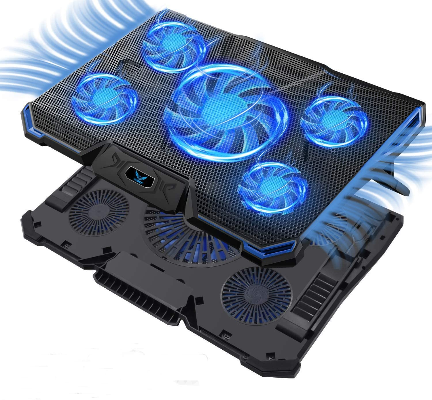 Laptop Cooler Cooling Pad Ultra Slim Portable Stand LED 6 Fans USB Powered SG