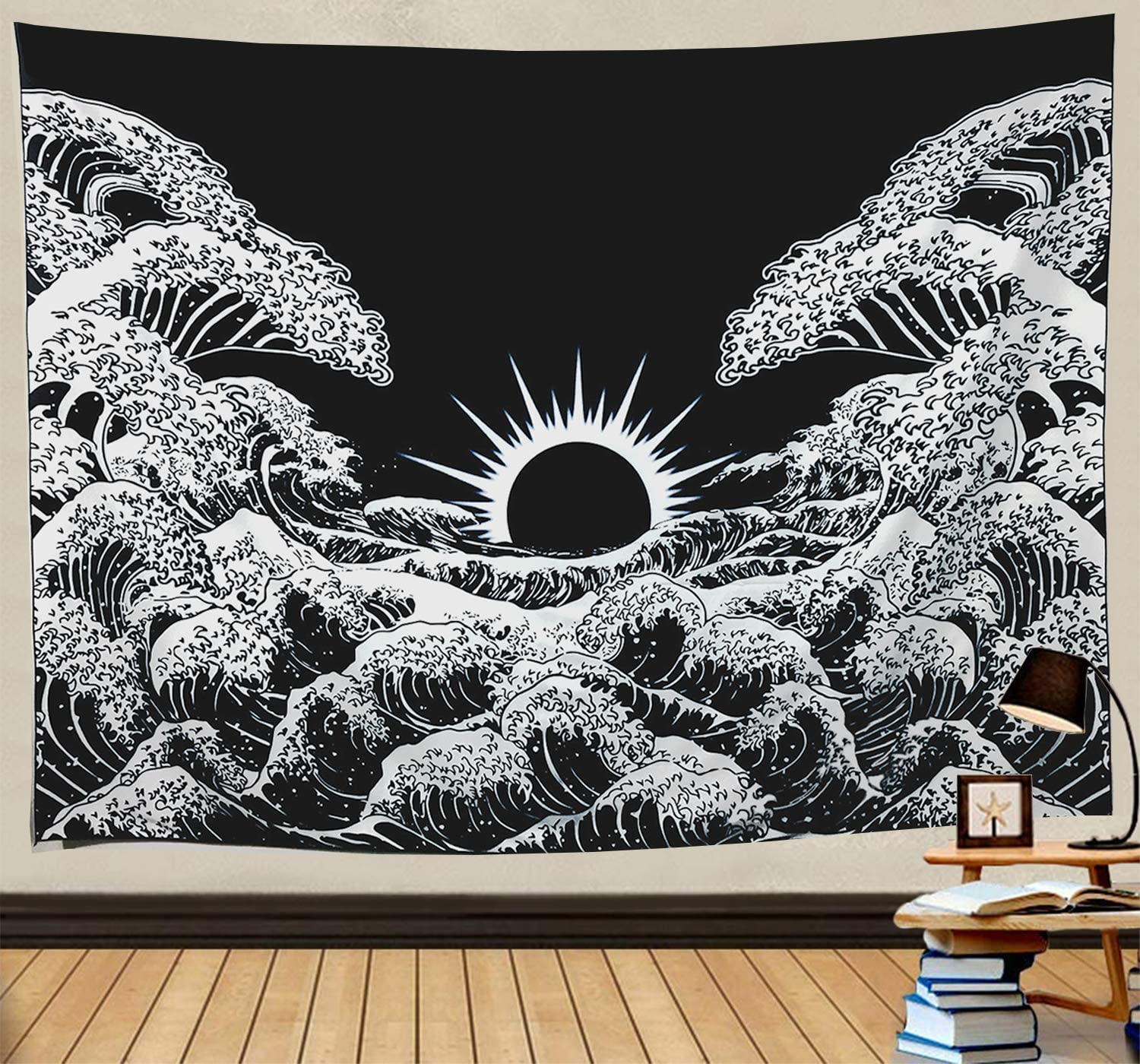 Wekymuu Ocean Wave Tapestry Black and White Tapestry Japanese Tapestry Wall Hanging Great Wave Tapestry for Bedroom(Black Wave51.2