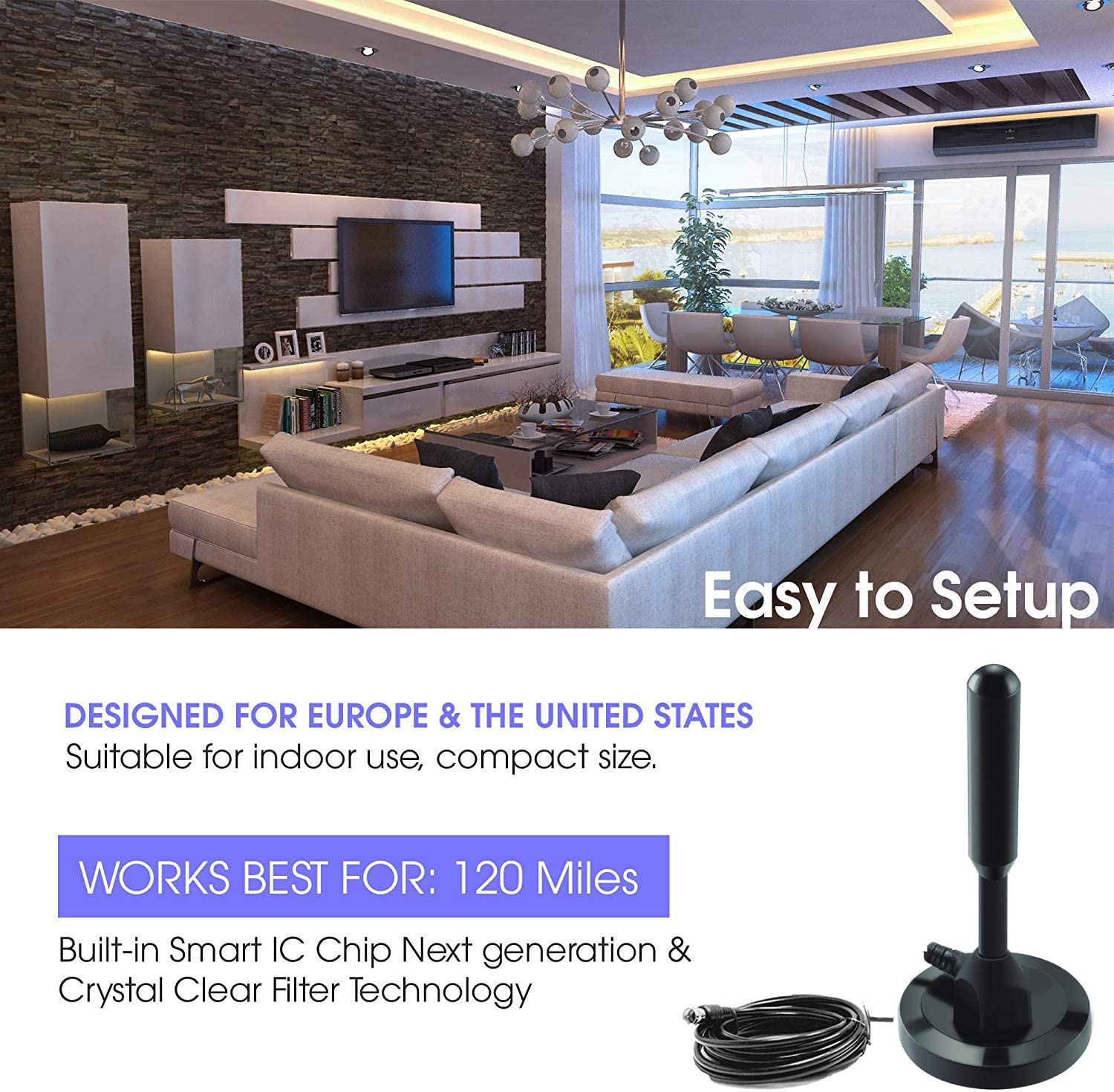 Full HD Amplified Smart TV Digital Indoor Antenna Newest 2019 HDTV Powerful Best Amplifier Signal Booster 60 120 Miles Range Support 4K 1080p and Older TVs 9.8ft Coax Cable//USB Power Adapter