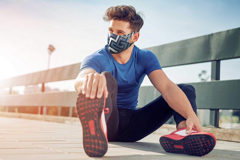 Trattamento Antibatterico Modello Superior Labirinto Blu Uomo Protezione Naso e Bocca,100/% Made in Italy R-evenge Fascia Protettiva Lavabile e Riutilizzabile Antimicrobico e Idrorepellente