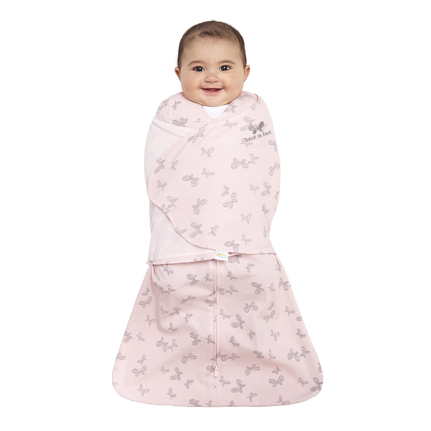 Halo Innovations Sleep Sack Cotton Swaddle, Pink Butterfly Scribble, Newborn 12003