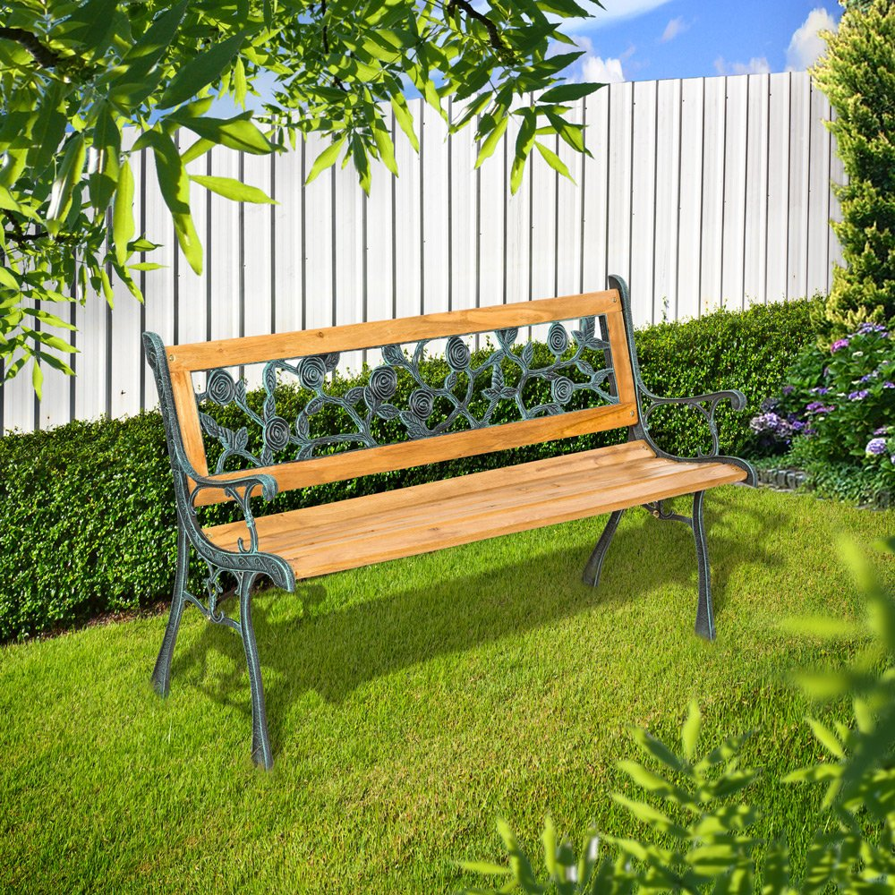 TecTake Banc de jardin en bois et fonte 128 x 51 x 73cm: Amazon.fr ...