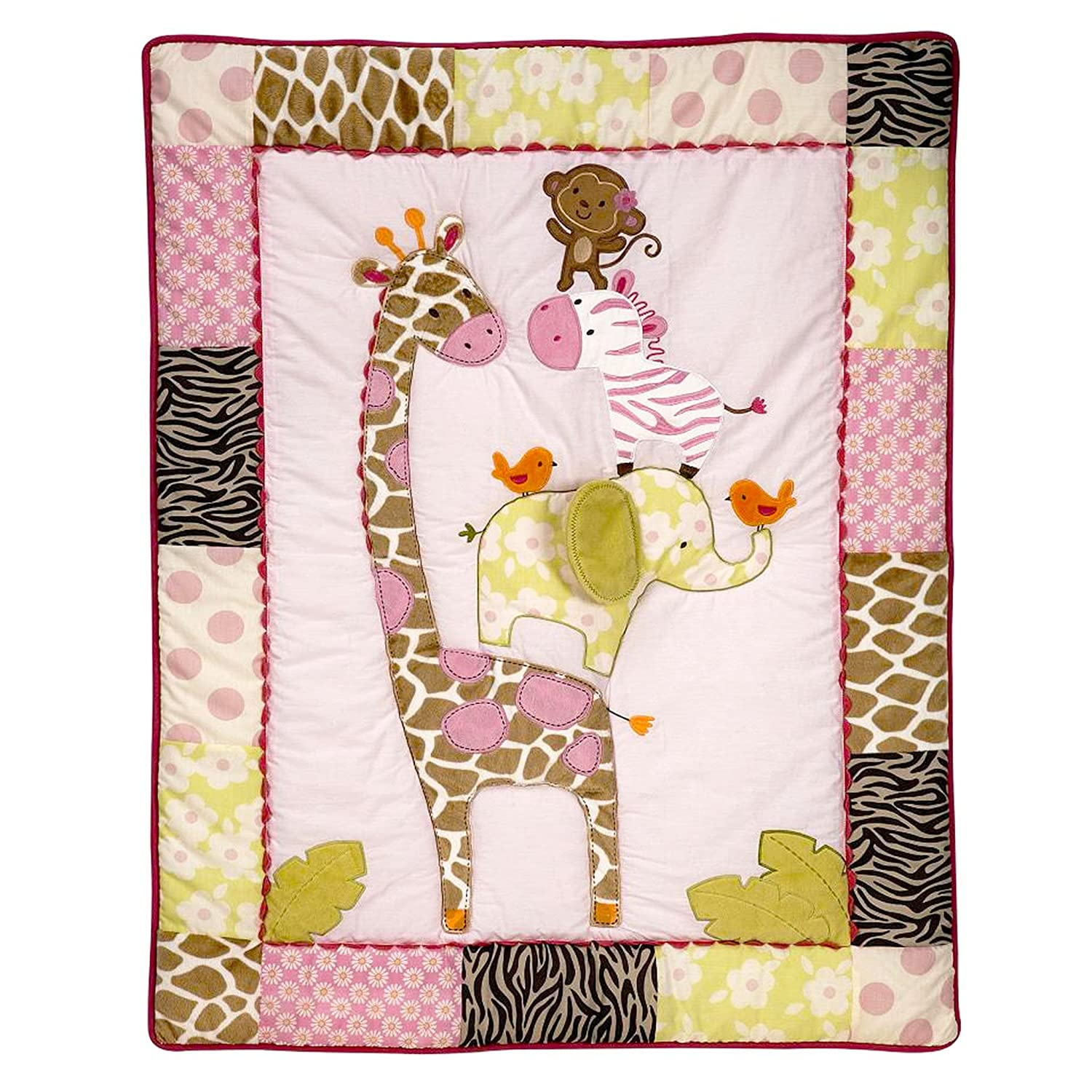 Carters Jungle Jill Baby Applique Luxury Pink Crib Quilt//Comforter Only