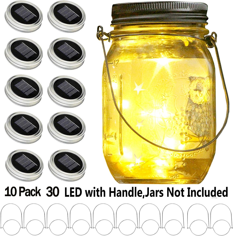 1 Pack Solar Mason Jar Lid 10 LED Mason Jar Fairy Light Yellow with Jar Hanger