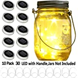 YITING Upgraded Solar Mason Jar Lid Lights, 10 Pack 30 LED Fairy Star Firefly String Lids Lights Including (10 pcs…