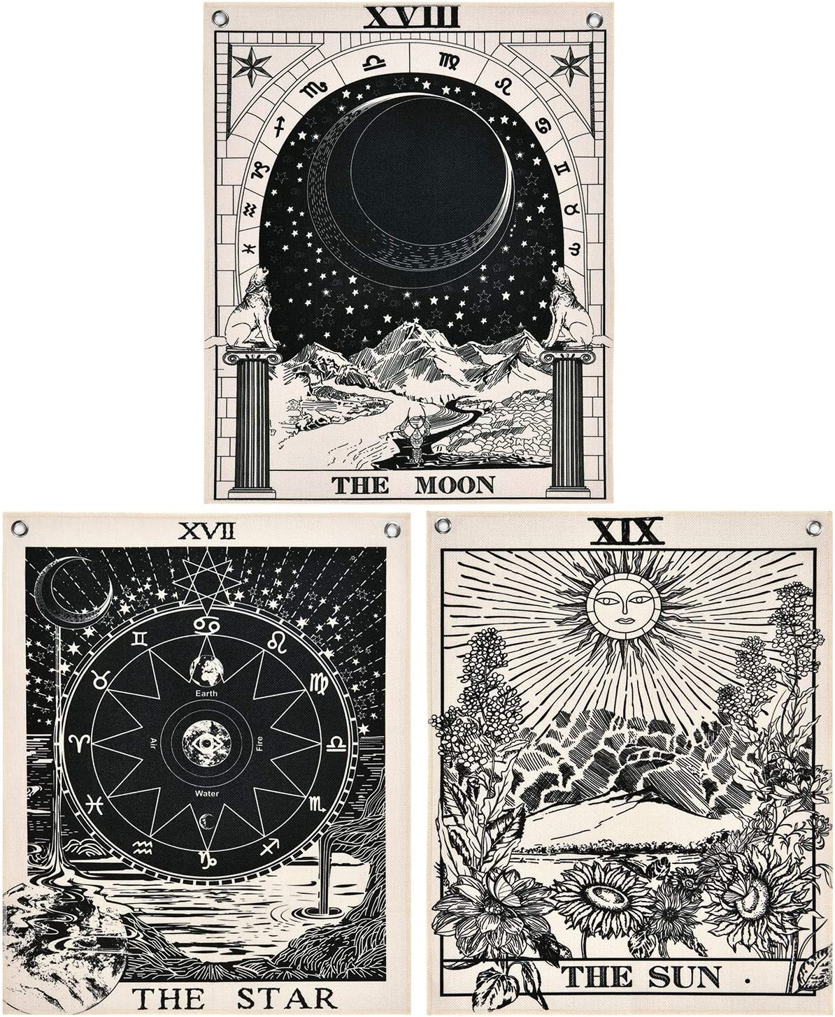 Likiyol Pack of 3 Tarot Tapestry The Sun The Moon The Star Tarot Card Tapestry with Rustproof Grommets, Seamless Nails(16 x 20 inches/Piece)