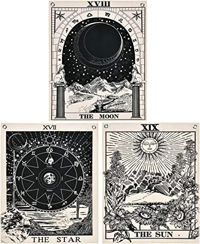 Likiyol Pack of 3 Tarot Tapestry The Sun The Moon The Star Tarot Card Tapestry with Rustproof Grommets, Seamless Nails Black White, 19.6 x 23.6 inches