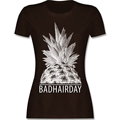 Statement Shirts - Badhairday - Ananas - S - Braun - L191 - Damen T-