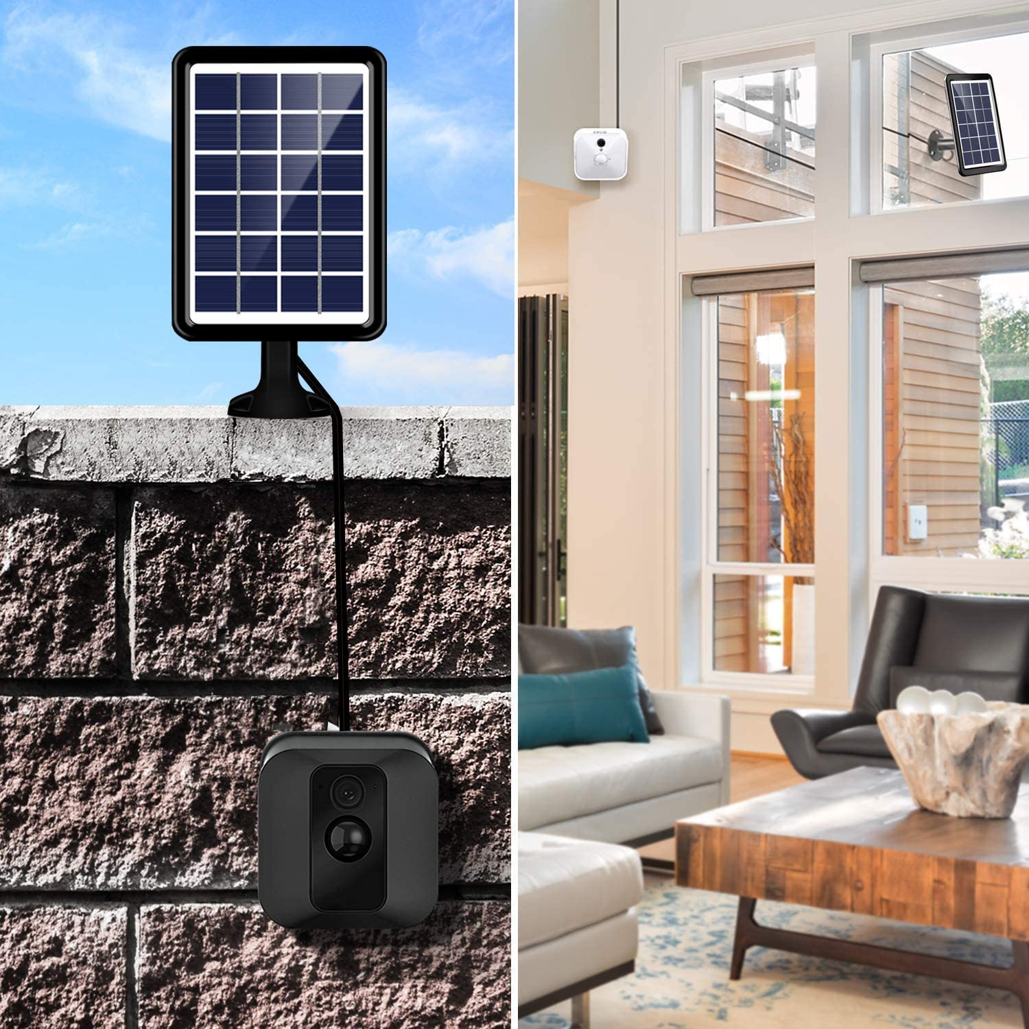Taken Adjustable Mount Bracket with Internal Battery Solar Panel Compatible with Blink XT2//XT Outdoor Camera Black 10ft//3m Weatherproof Cable to Continuously Charge XT2//XT Camera