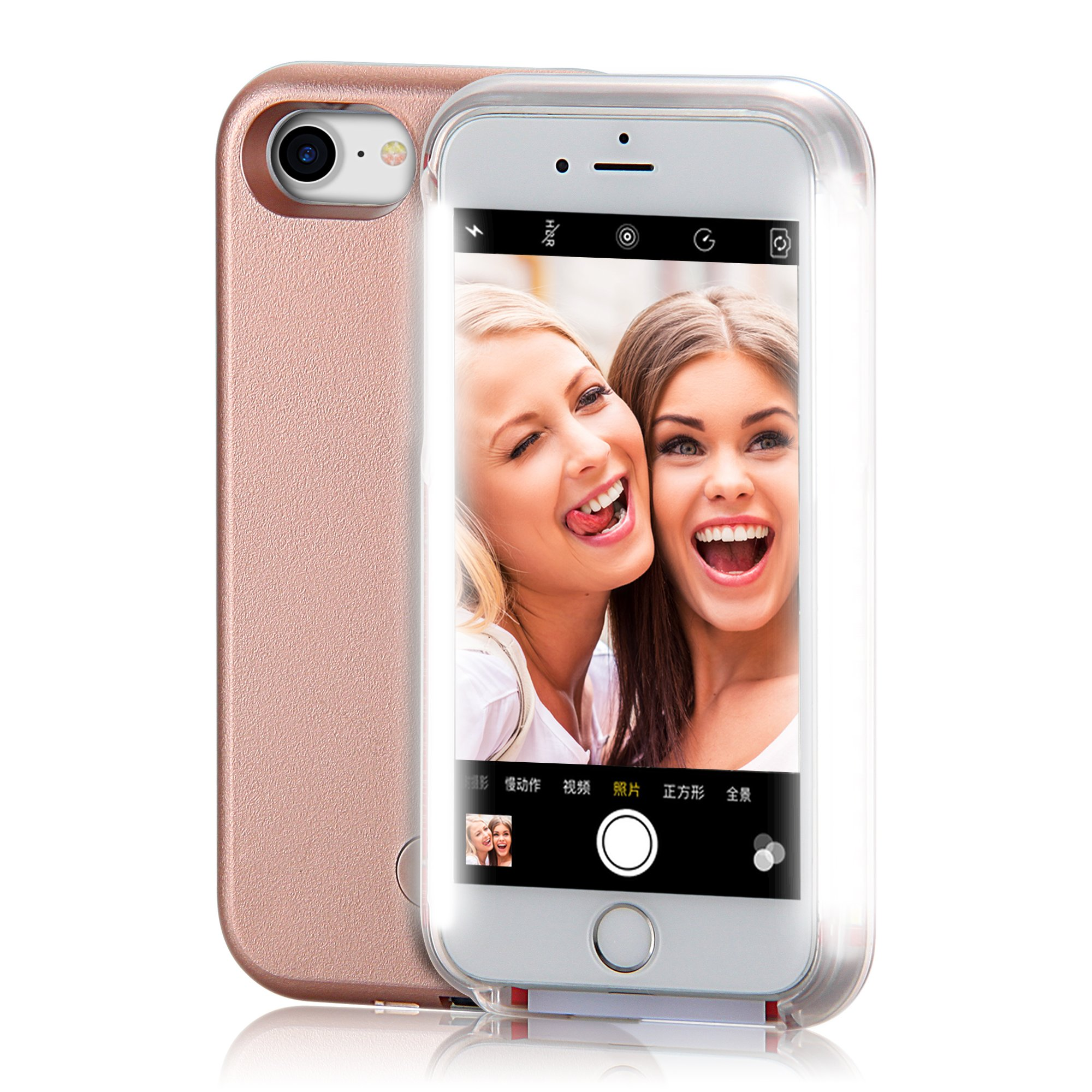 iPhone 6 Case, COSLIGHT LED Light Up Selfie Phone Case Luminous Protective Cover for Apple iPhone 6 6s (4.7'') - Rose Gold